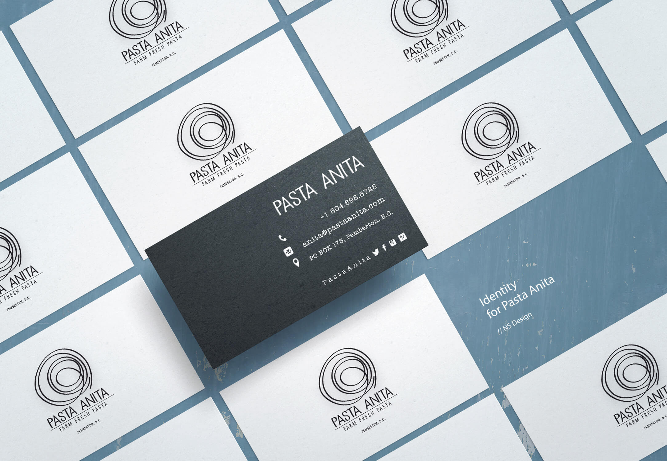 Pasta Anita Identity Business Cards Viewed From Above