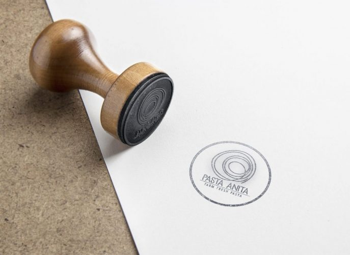 NS Design Pasta Anita Identity Logo Stamp on Paper
