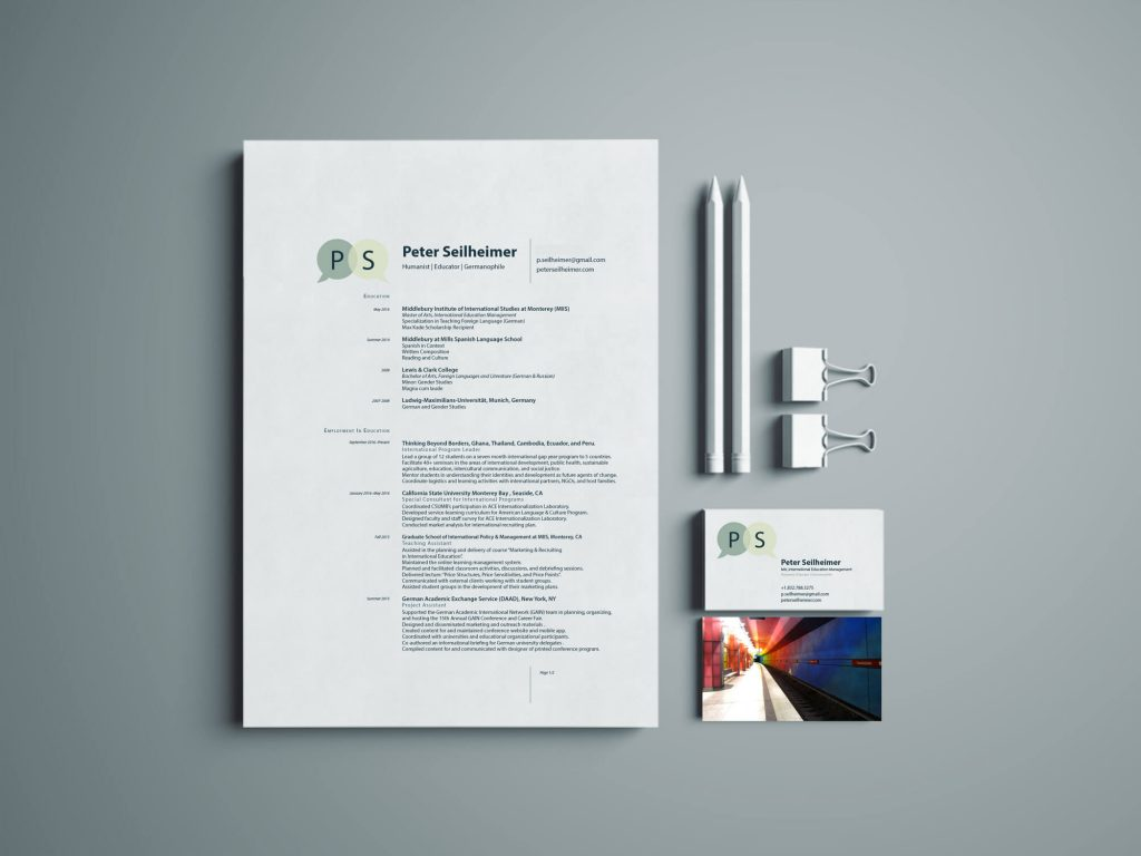 ns design peter seilheimer branding identity resume and business cards viewed from above
